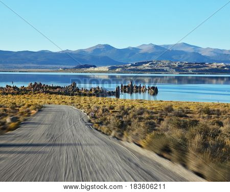 The road to the beautiful Mono Lake with fantastic reef-Tufa. A trip to the high speed
