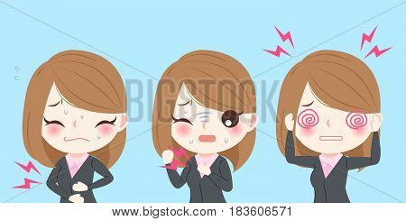 businesswoman with health problem on blue background