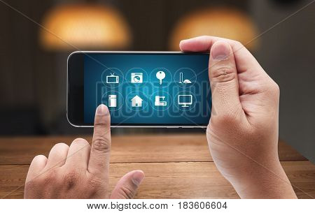 Using Innovative Technologies Computer System Innovation Digital Smart House Device Smartphone With