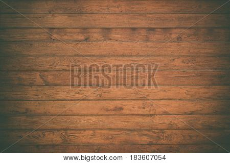 Closeup Of Grunge Dark Wood Background. Vintage Tone With Vignetting.
