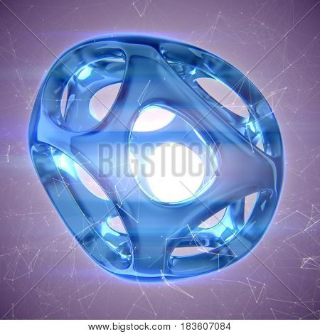 Blue crystal abstract. Jewelry concept 3D rendering