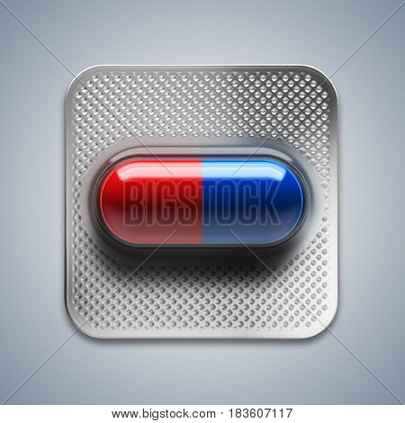 Red and blue pills in blister packaging on blue background. 3d rendering