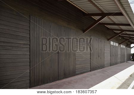 Old Grunge Wood Simple Door And Wooden Wall