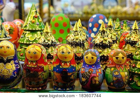 Wooden Dolls At Souvenir Shop In Russia