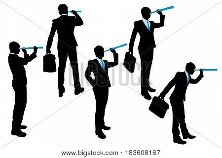 silhouette of businessman use monocular telescope on the white background