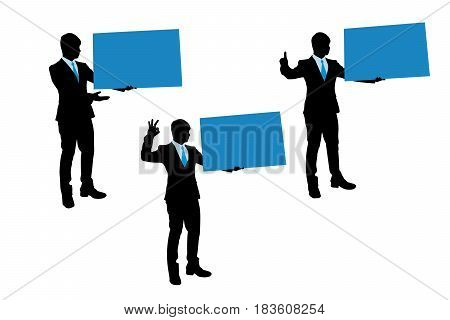 silhouette of businessman take billboard on the white background