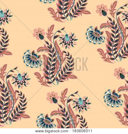 Vector seamless hand drawing flowers pattern. Used for scrapbooking, Save the date card, postcard, flyer or wedding invitation, wallpaper, wrapping paper, background. Pastel on beige colors