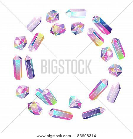 Crystals gems round frame isolated. Multicolored gradient colorful gem stones. Vector illustration.