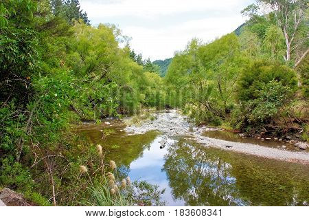 Maitai River meandering through countryside near Nelson, New Zealand