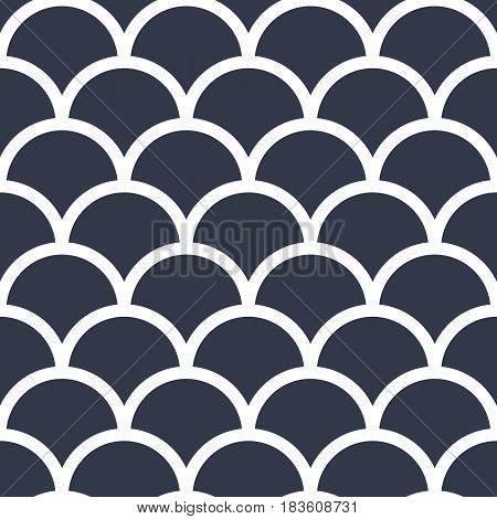 Abstract seamless wave pattern in japan style. Fish scales. White scales on a dark blue background. Vector illustration.