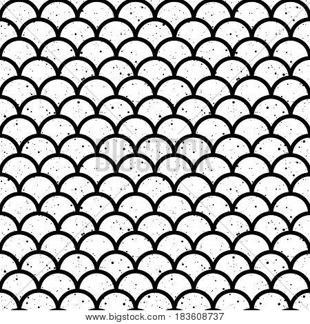 Abstract seamless wave pattern in black and white. Fish scales japan motif. Ink splashes. Vector illustration.