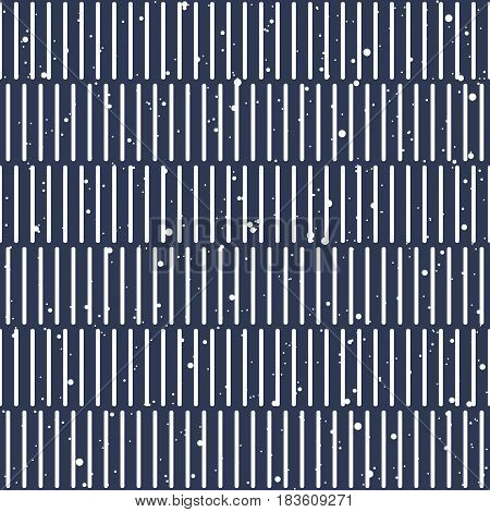 Abstract seamless background with vertical regular rounded stripes and dots or splashes. Japanese or Chinese bamboo table mat style. Dark blue and white colors. Vector illustration.
