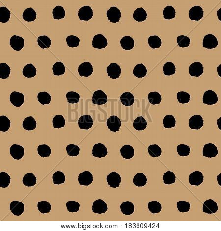 Abstract black and brown seamless background. Hand drawn black ink polka dot pattern. Vector illustration. Simple naive scandinavian design.