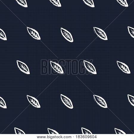Doodle seamless pattern with hand drawn leaves. Diagonal sparce cute white leaf on dark blue background. Naive style. Vector illustration