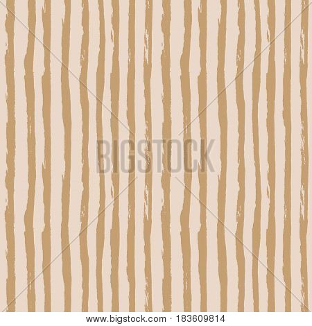 Seamless pattern with vertical hand drawn stripes lines. Abstract pastel background in naive scandinavian style. brown and beige or light peach colors. Vector illustration.