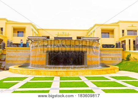 Sharm El Sheikh, Egypt - April 13, 2017: The view of luxury five stars hotel RIXOS SEAGATE SHARM in Sharm El Sheikh, Egypt on April 13, 2017