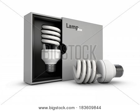 3D Illustration Of Led Light Bulb In The Box And Near Box, Isolated White