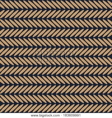 Horizontal herringbone dark blue and brown seamless pattern. Abstract simple background. Vector illustration.