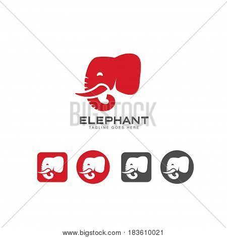 Elephant head icon and logo vector. elephant Identity logo design template for your company. Vector illustration.