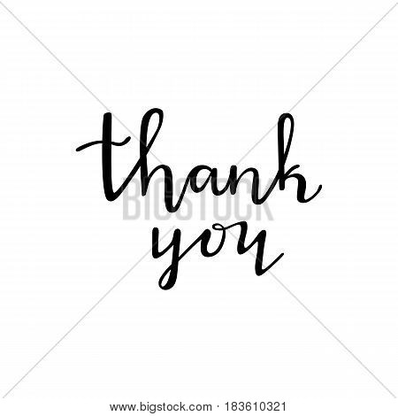Thank You - ink black handwritten lettering. Brush painted letters. Vector illustration.