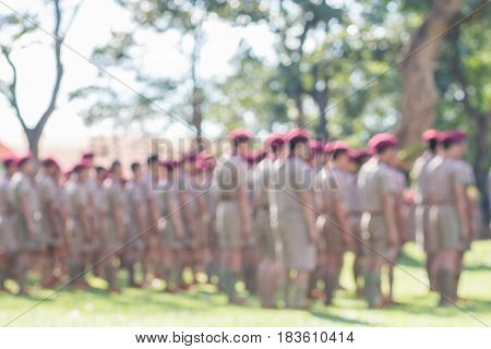 blurred of group thai boy scout standing in line for activity camp with uniform thailand education