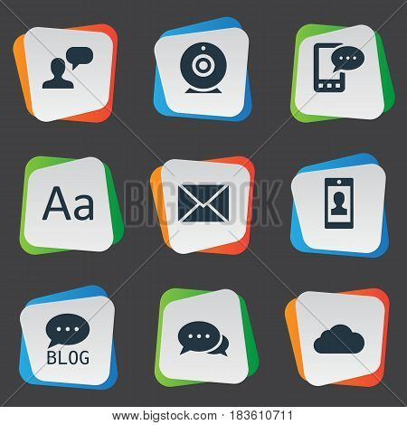 Vector Illustration Set Of Simple User Icons. Elements E-Letter, Cedilla, Profile And Other Synonyms Missive, Overcast And Blog.