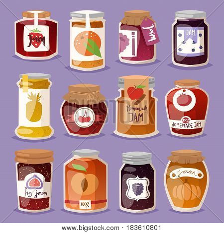 Glass jar with with jam configure or honey vector illustration packaging. Label bank homemade conserve marmalade dessert. Sweet container lid strawberry pot.