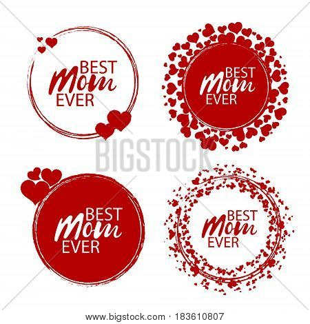 Best Mom Ever stamp with butterflies. Red round grunge vintage mother's day sign. Vector