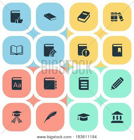 Vector Illustration Set Of Simple Education Icons. Elements Important Reading, Bookshelf, Recommended Reading And Other Synonyms Sketchbook, Favored And Writing.