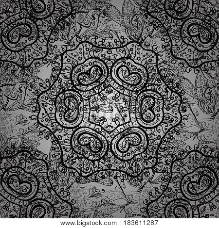 Seamless pattern on gray background with white elements. Classic vintage background. Traditional orient ornament. Seamless classic vector white pattern.
