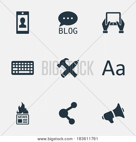 Vector Illustration Set Of Simple Newspaper Icons. Elements Profile, Notepad, Keypad And Other Synonyms Profile, Tablet And Hammer.