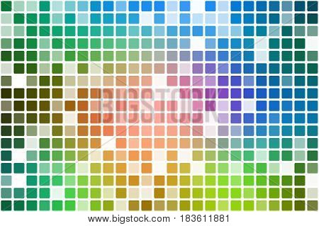 Pink green blue occasional opacity square tiles mosaic over white background