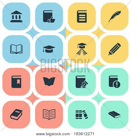 Vector Illustration Set Of Simple Books Icons. Elements Book Cover, Encyclopedia, Notebook And Other Synonyms Feather, School And Academy.