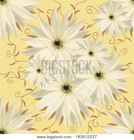 Seamless infinite background floral.. White-yelliw flowers. For design and printing. Background of natural flowers. Wall-papers.