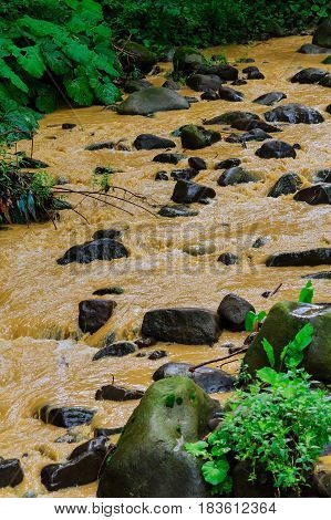 After A Heavy Rain Storm, Muddy Brown Water Runoff Fills A Small Stream