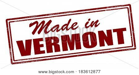 Stamp with text Made in Vermont inside vector illustration