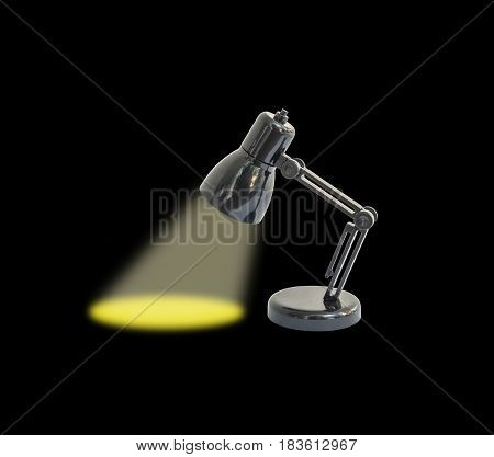 Closeup small lamp with yellow light isolated on black background