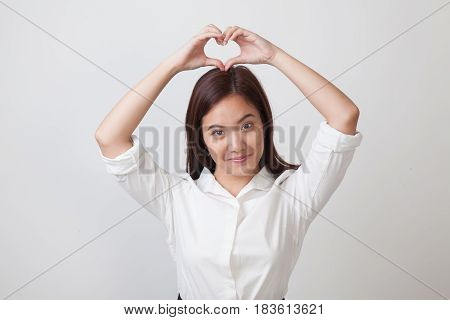 Young Asian Woman Gesturing  Heart Hand Sign.