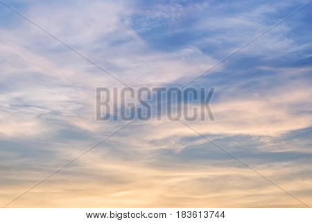 Closeup beautiful sky with cloud in the evening textured background