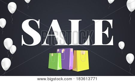 Black sale background. White text Sale with inflatable white helium balloons and colored paper shopping bag with labels new purchased items. Banner in HD format for your business ad about discount.