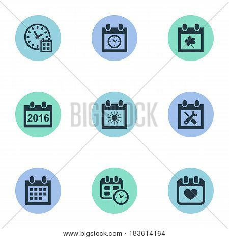 Vector Illustration Set Of Simple Date Icons. Elements 2016 Calendar, Heart, Summer Calendar And Other Synonyms Date, Annual And Agenda.