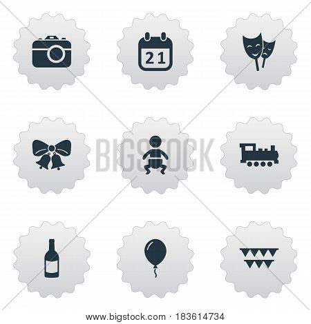 Vector Illustration Set Of Simple Holiday Icons. Elements Aerostat, Train, Resonate And Other Synonyms Actor, Fizz And Day.