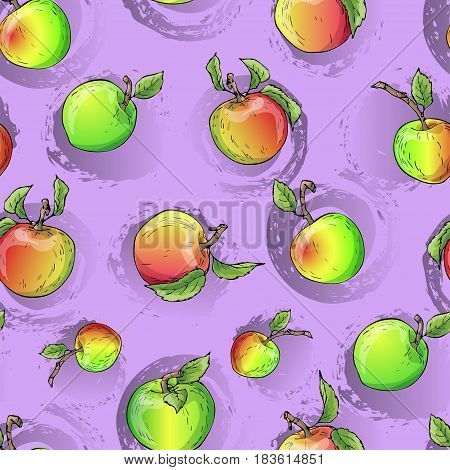 Vector apple pattern. Design for textile sweets and pastries filled with apple dessert menu health care products. With elements of grunge.