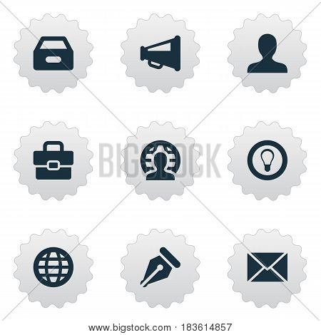 Vector Illustration Set Of Simple Job Icons. Elements Suitcase, Anonymous, Bulb And Other Synonyms Web, Portfolio And Incognito.