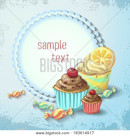 Vector Sweets of cake and caramel banner. Design for sweets and pastries filled with cake and caramel dessert menu health care products. With elements of grunge and vintage. With place for text.