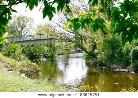 Arched footbridge crossing a tranquil stream with willows on bank