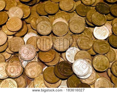 Ukrainian money - small change coins worth ten kopecks