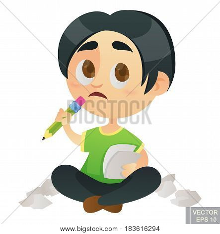 Kid Child Job And Profession Dream Illustration Of Cartoon Little Writer Pupil Taking A Test Or Fill