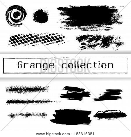 Vector brush strokes ink stains graffiti elements isolated on white. Grange collection lines dots and abstract textures