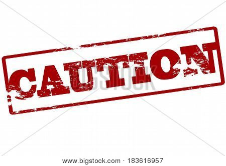 Stamp with word caution inside vector illustration